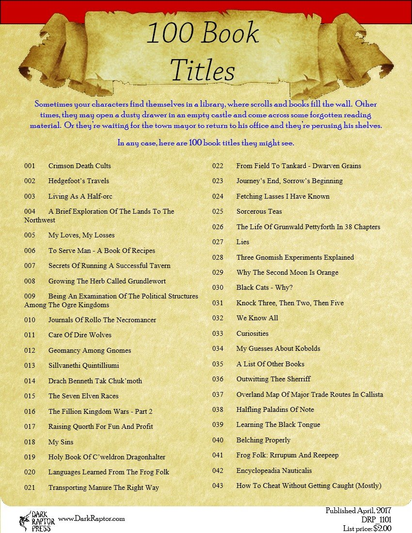 100 Book Titles Image